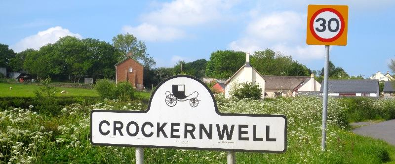 Crockernwell Road Sign